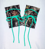 Camo & Mint Tie Boot Cuffs, Stretchy Camo Boot Toppers, Holiday Stocking Stuffer, Christmas Gift - Voneenz  - 1