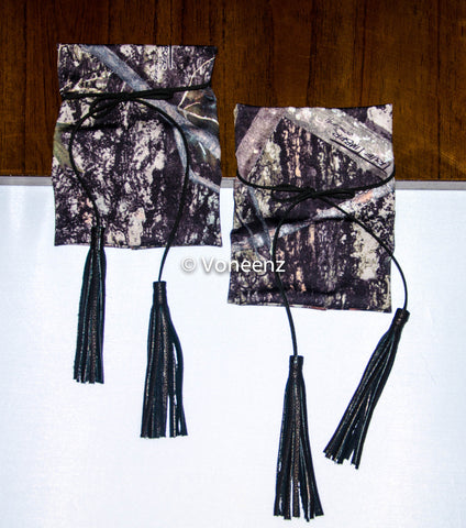 Camo & Leather Tie Tassel Boot Cuffs, Stretchy Camo Boot Toppers, Holiday Stocking Stuffer, Christmas Gift