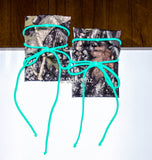 Camo & Mint Tie Boot Cuffs, Stretchy Camo Boot Toppers, Holiday Stocking Stuffer, Christmas Gift - Voneenz  - 2