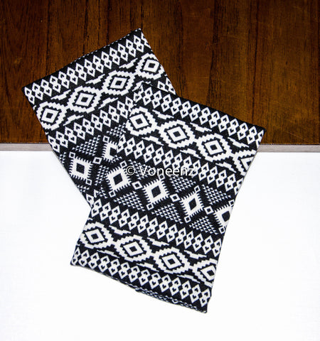 Aztec Tribal Knitted Boot Cuffs, Black & White Boot Toppers, Holiday Stocking Stuffer, Christmas Gift