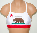 California Flag High Neck Halter Bikini Top, Criss Cross Adjustable Swimwear Bikini Top, 4Th Of July Bathing Suit, Festival Spandex Top - Voneenz