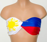 PADDED Philippine Flag Bandeau, Swimwear Bikini Top, Twisted Top Bathing Suits, Spandex Bandeau Bikini - Voneenz