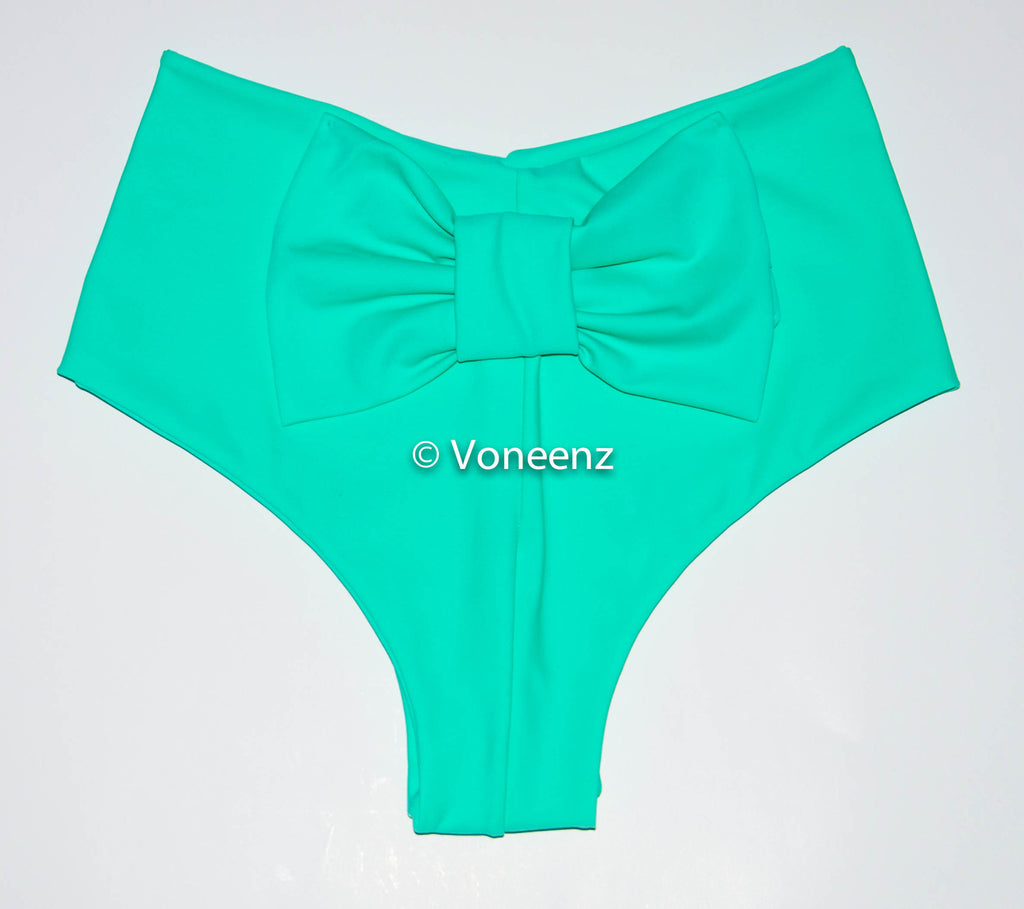 Mint Cheeky Bikini Bow Bottoms, Hips Brazilian Bikini Bottoms, Seamless Reversible Boy Shorts - Voneenz