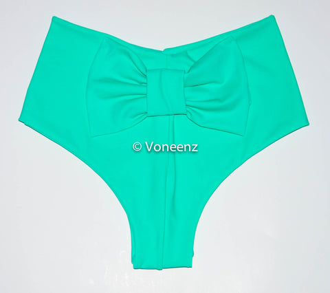 Mint Cheeky Bikini Bow Bottoms, Hips Brazilian Bikini Bottoms, Seamless Reversible Boy Shorts