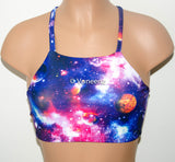 Galaxy Print High Neck Halter Bikini Top, Criss Cross Adjustable Swimwear Bikini Top, Festival Top - Voneenz
