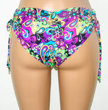 Cheeky Scrunch Butt & Side Hips Bikini Bottoms, Paisley Fully Lined Bikini Bottom. Brazilian Cheeky Bikini Bottom - Voneenz