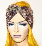 Camo Turban Headband, Wide Stretchy Women's Head Wrap, Girly Hair Accessories, Twisted Fabric Hair Wrap - Voneenz