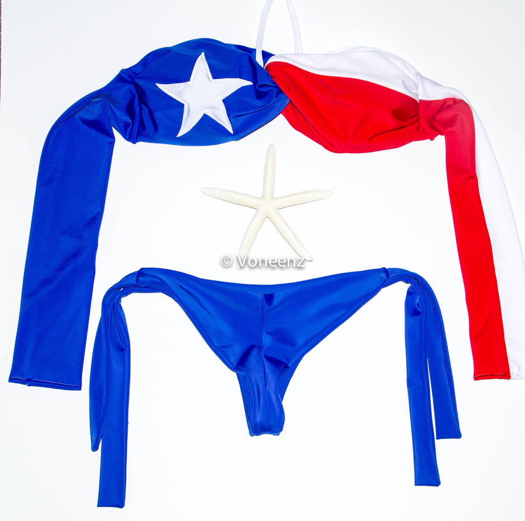 PADDED Texas Flag Spandex Bikini Set, Twisted Spandex Bandeau and Full Coverage Bikini Bottom, Two Piece Swimsuit - Voneenz  - 1
