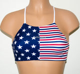American Flag High Neck Halter Bikini Top, Criss Cross Adjustable Swimwear Bikini Top, 4Th Of July Bathing Suit, Festival Top Spandex Bikini - Voneenz