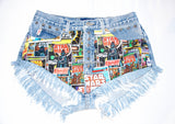 STAR WARS Vintage High Waisted Denim Shorts, Levi Vintage Denim Shorts, Levi Studded and Destroyed Cut off Shorts, Plus Size Denim Shorts - Voneenz