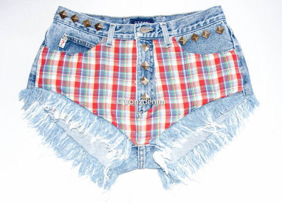 Limited Edition High Waisted Denim Shorts, Vintage Plaid High Waisted Studded Shorts, Levi Vintage Denim Shorts, Plus Size Denim Shorts - Voneenz