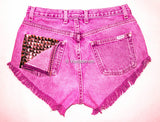High Waisted Studded Shorts, Vintage Denim Shorts, High Rised Shorts,  Fashion, Plus Size Shorts, Levi, Guess, Wrangler, Lee, etc. - Voneenz  - 1