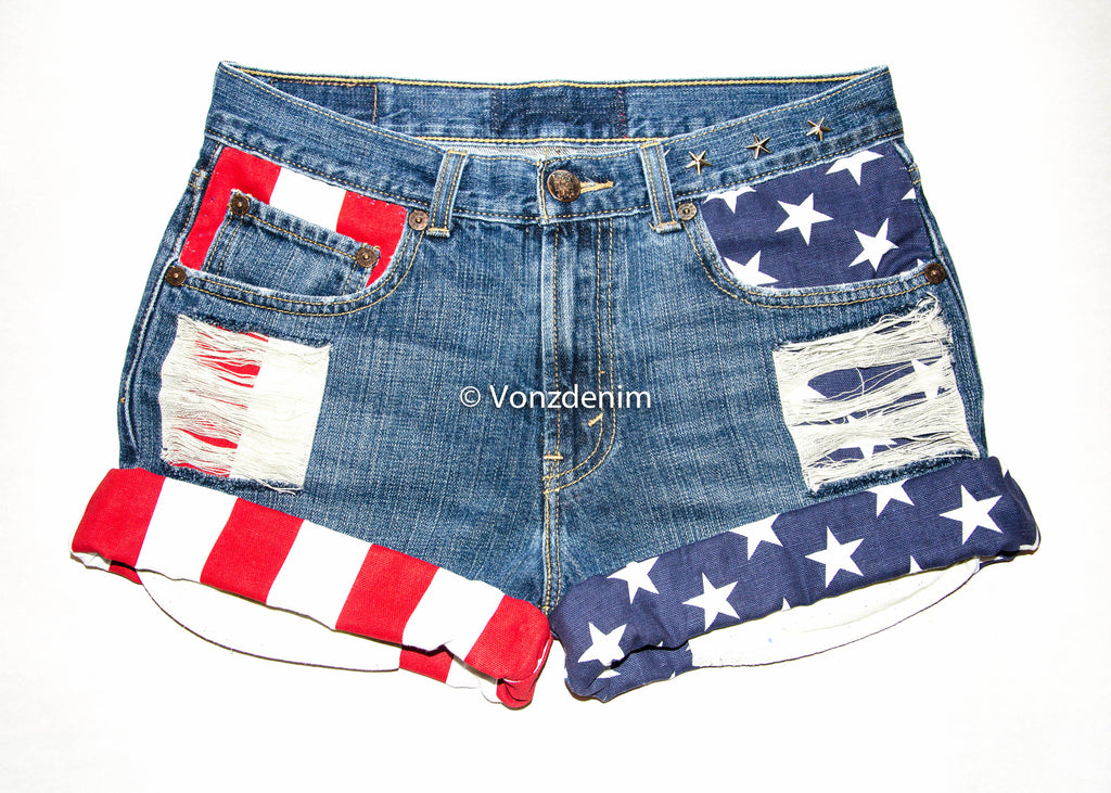 American Flag Shorts, Levi High Waisted Denim Shorts, 4th of July, Patriotic Shorts, Presidential Shorts, American Flag Studded Denim Shorts - Voneenz