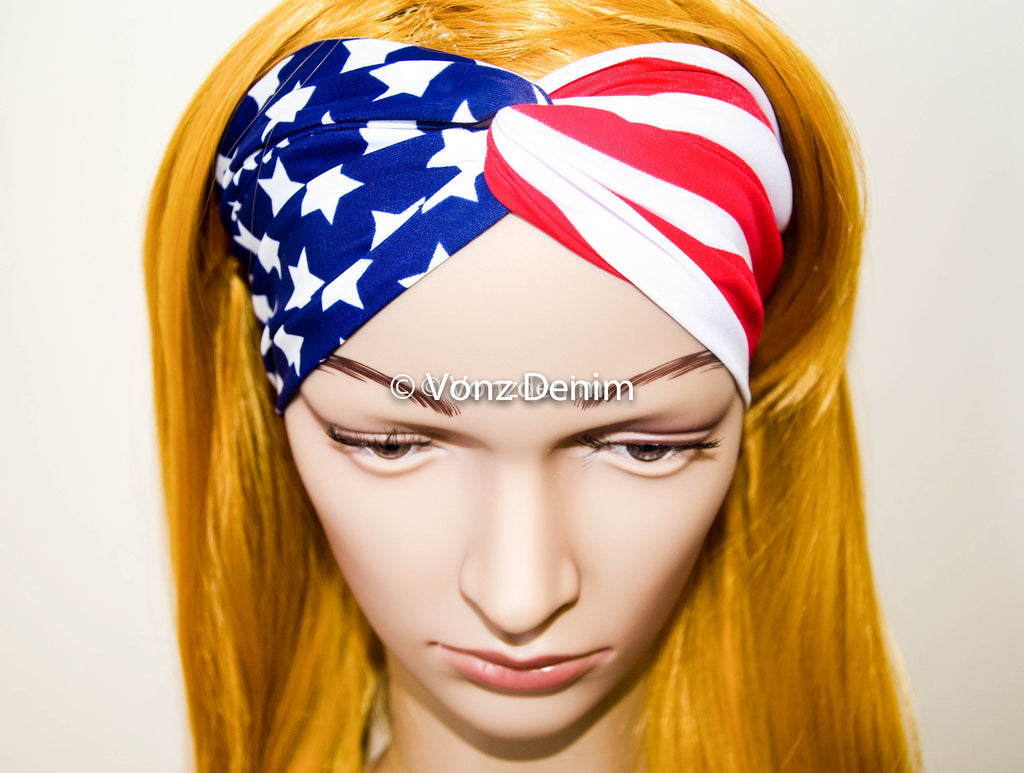 American Flag Headband, Wide Stretchy Women's Head Wrap, USA Hair Band, Twisted Headband, Wide American Flag Turband in Red White and Blue - Voneenz