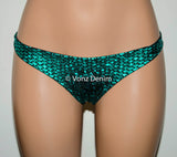 Metallic Black & Mermaid Scrunch Bikini Bottom, Cheeky Hips Bikini Bottom, Wet Look Brazilian Bikini, Fully Lined Scrunch Butt Swimsuit - Voneenz