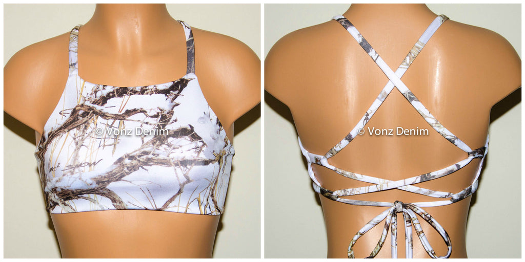 White Snow Camo High Neck Halter Bikini Top, Criss Cross Adjustable Swimwear Bikini Top, 4Th Of July Bathing Suit, Festival Top - Voneenz