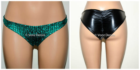 Metallic Black & Mermaid Scrunch Bikini Bottom, Cheeky Hips Bikini Bottom, Wet Look Brazilian Bikini, Fully Lined Scrunch Butt Swimsuit