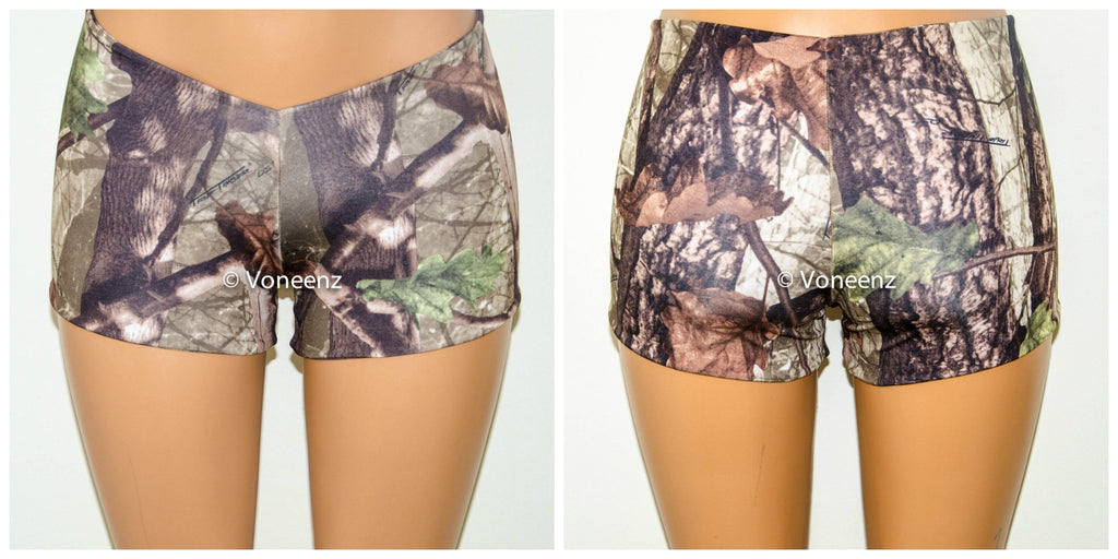 Seamless Reversible Camo Booty Shorts, Music Festival Shorts, Stretchy Spandex Short Shorts, Workout Shorts, Club Wear - Voneenz