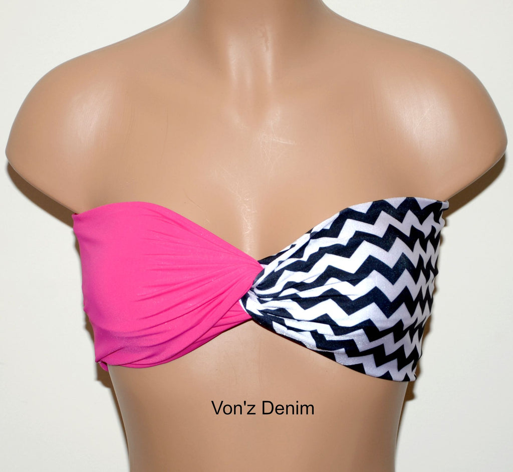 Fuchsia and Chevron Bandeau Top, Swimwear Bikini Top, Twisted Top Bathing Suits, Spandex Bandeau Bikini - Voneenz