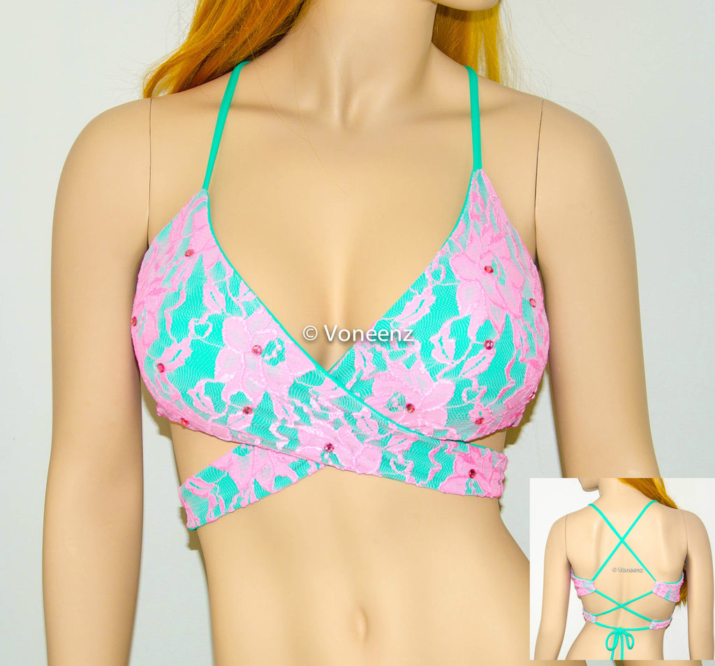 PADDED Mint, Pink Lace & Swarovski Crystals Body Wrap Around Triangle Halter Bikini Top, Corset Criss-Cross Back Spandex Top, Women Swimwear - Voneenz