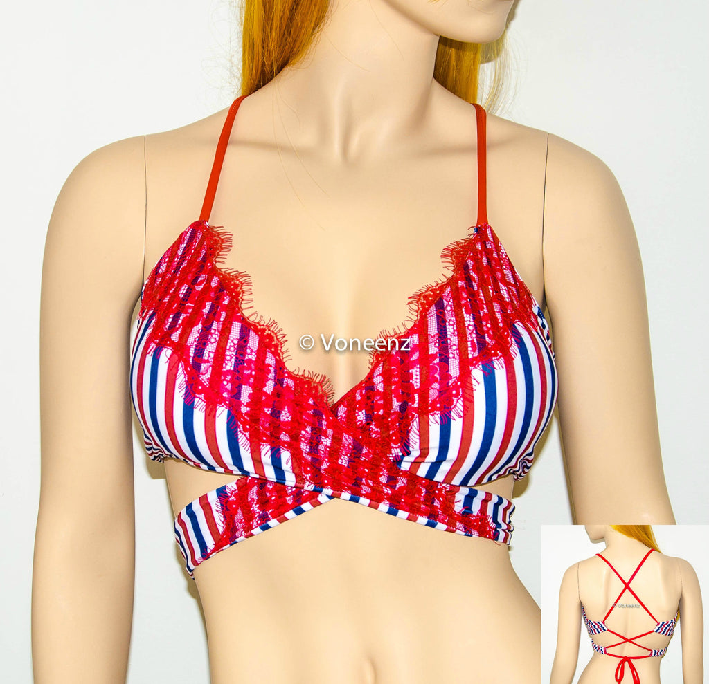 PADDED American Flag With Eyelash Lace Body Wrap Around Triangle Halter Bikini Top, Corset Criss-Cross Back USA Flag Spandex Swimwear - Voneenz