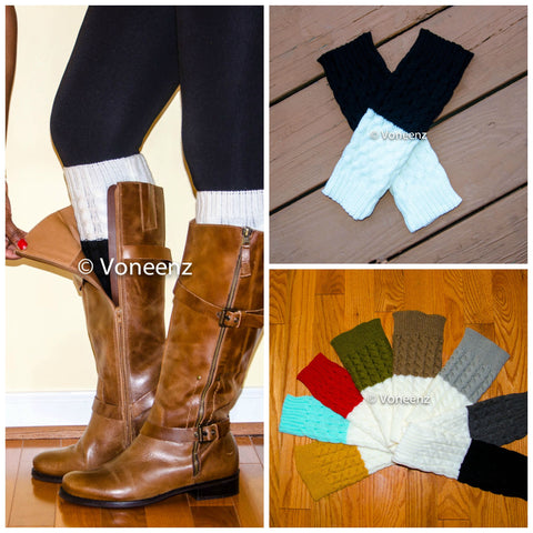 Black & Ivory Reversible Knitted Boot Cuffs, Two Tone Boot Topper, Holiday Stocking Stuffer