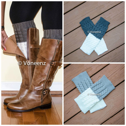 Dark Gray & Ivory Reversible Knitted Boot Cuffs, Two Tone Boot Topper, Holiday Stocking Stuffer