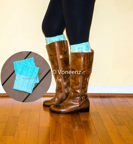 Cable Knitted Mint Ombre Reversible Boot Cuff, Holiday Boot Topper Stocking Stuffer