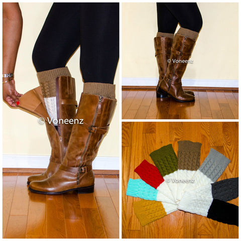 Mocha & Ivory Reversible Knitted Boot Cuffs, Two Tone Boot Topper, Holiday Stocking Stuffer