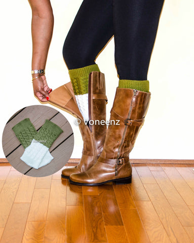 Olive & Ivory Reversible Knitted Boot Cuffs, Two Tone Boot Topper, Holiday Stocking Stuffer