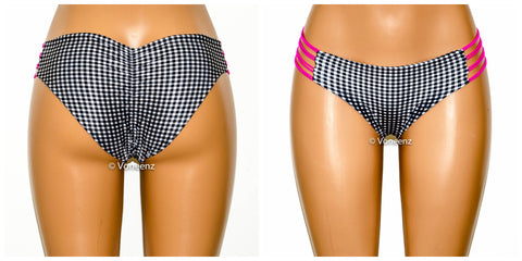 Black and White Gingham Reversible Strappy Side Scrunch Butt Bikini Bottom, Seamless Cheeky Hips Bikini, Brazilian Bikini