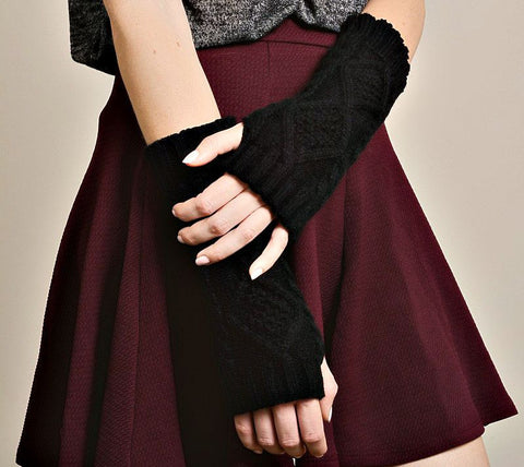 Black Diamond Cable Knit Hand Warmer