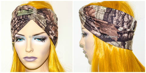 Camo Turban Headband, Wide Stretchy Women's Head Wrap, Girly Hair Accessories, Twisted Fabric Hair Wrap