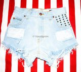 High Waisted American Flag Denim Shorts, Hand Painted American Flag Shorts, Vintage High Waisted Shorts, Studded Shorts, Bleached Shorts - Voneenz