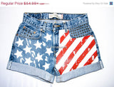 American Flag Shorts, Hand Painted American Flag Shorts, Vintage High Waisted Denim Shorts, Studded Shorts, Levi Patriotic Denim Shorts - Voneenz