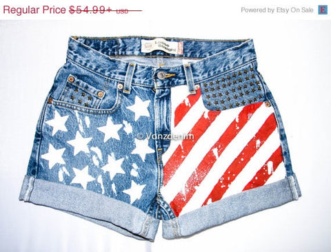 American Flag Shorts, Hand Painted American Flag Shorts, Vintage High Waisted Denim Shorts, Studded Shorts, Levi Patriotic Denim Shorts
