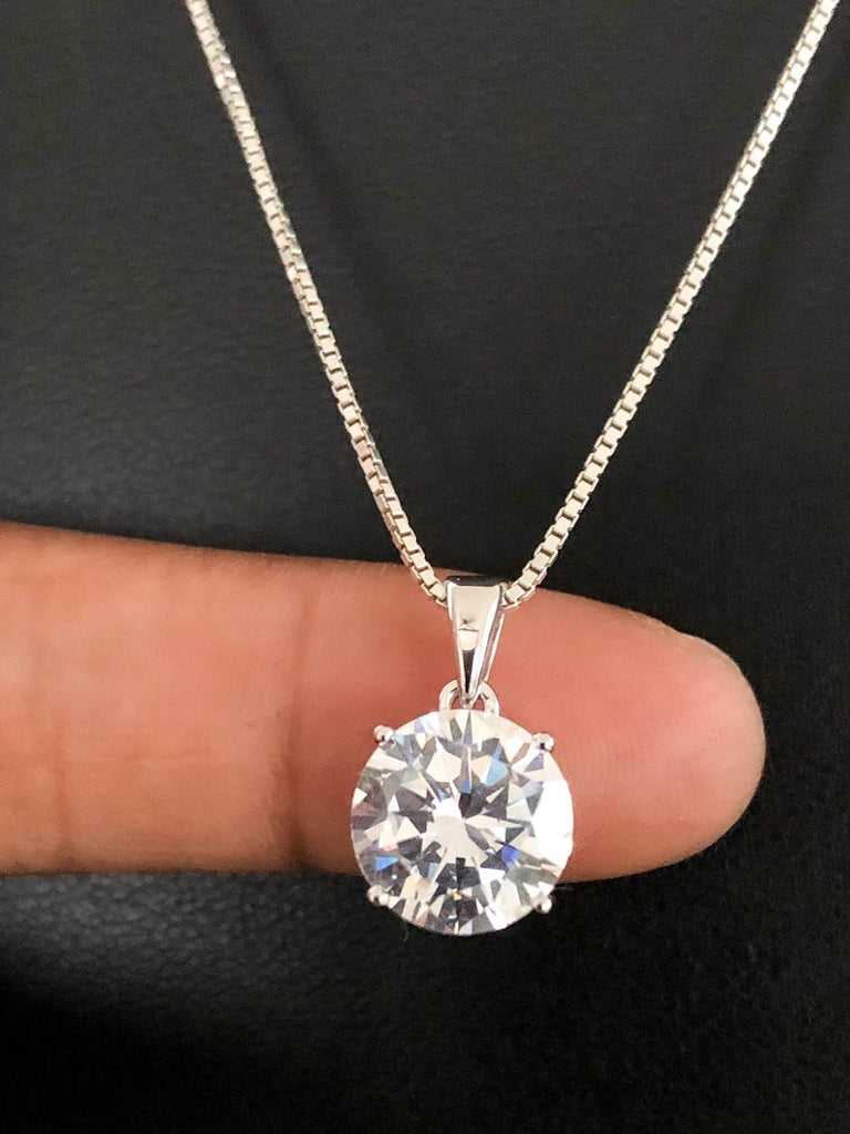 Sterling Silver Cz Necklace, Solitaire Necklace, Cubic Zirconia Necklace, Clear Cubic Zirconia Pendant, Wedding Necklace, Bridal Necklace