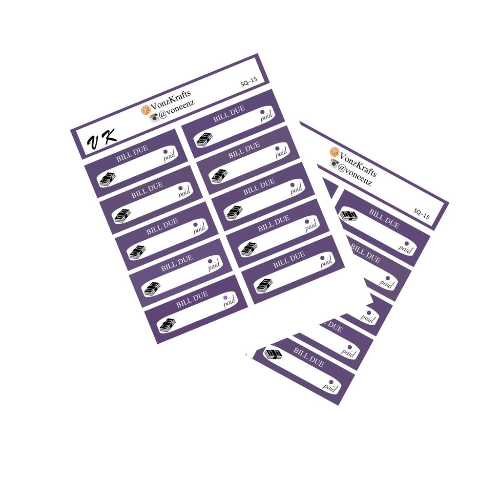 Bill Due Stickers, Loan Payment Bill Due Stickers, Pay Bill Planner Stickers, Bill Reminder, Erin Condren, Happy Planner, Budget