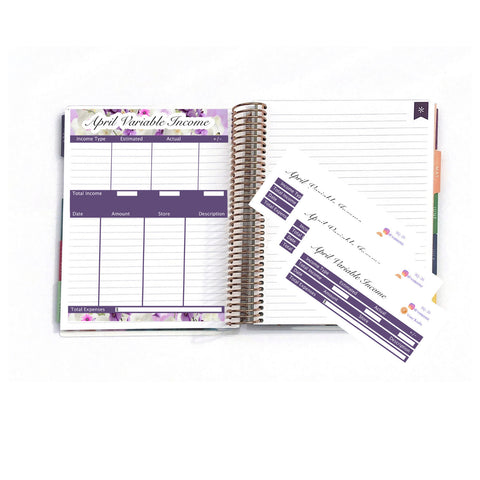 "April Variable Income, Variable Income Tracker, EC Stickers, Planner Stickers For Erin Condren Deluxe Monthly Planner,7x9"" & 8.5x11"":  SQ-20"