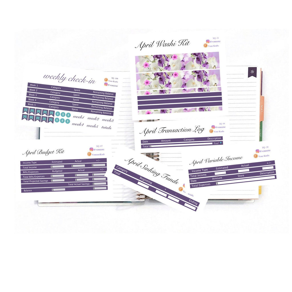 "April Complete Deluxe Budgeting Kit,  EC Stickers, Planner Stickers For Erin Condren Deluxe Monthly Planner, 7x9"" & 8.5x11"": SQ-22"