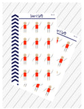 12 Stick Man Stickers for Planner, Stick Figure Man, Planner Decoration Artwork, Perfect For Erin Condren Planner:  SQ-32