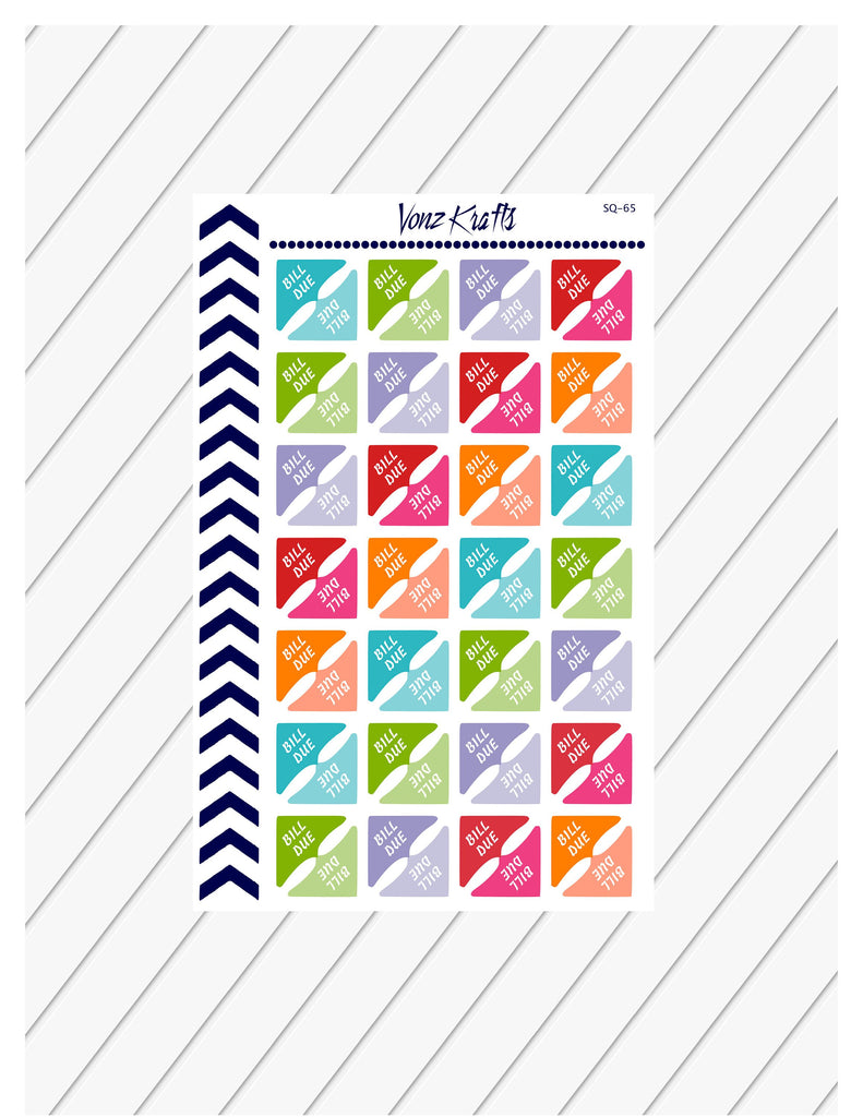 Bill Due Corner Planner Stickers, Bill Due Stickers, Reminder Stickers, Functional Planner Stickers, Perfect For Erin Condren Planner