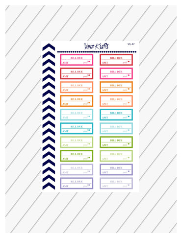 Bill Due Planner Stickers, Loan Payment Bill Due Stickers, Pay Bill Planner Stickers, Bill Reminder, Erin Condren, Happy Planner, Budget