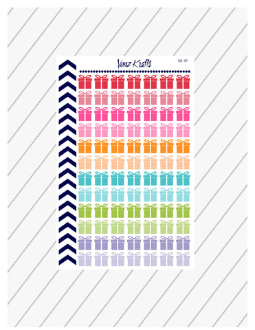 Gift Box Planner Stickers, Present Planner Stickers, Christmas Gift, Birthday Present Stickers, Perfect For Erin Condren Planner:  SQ-97