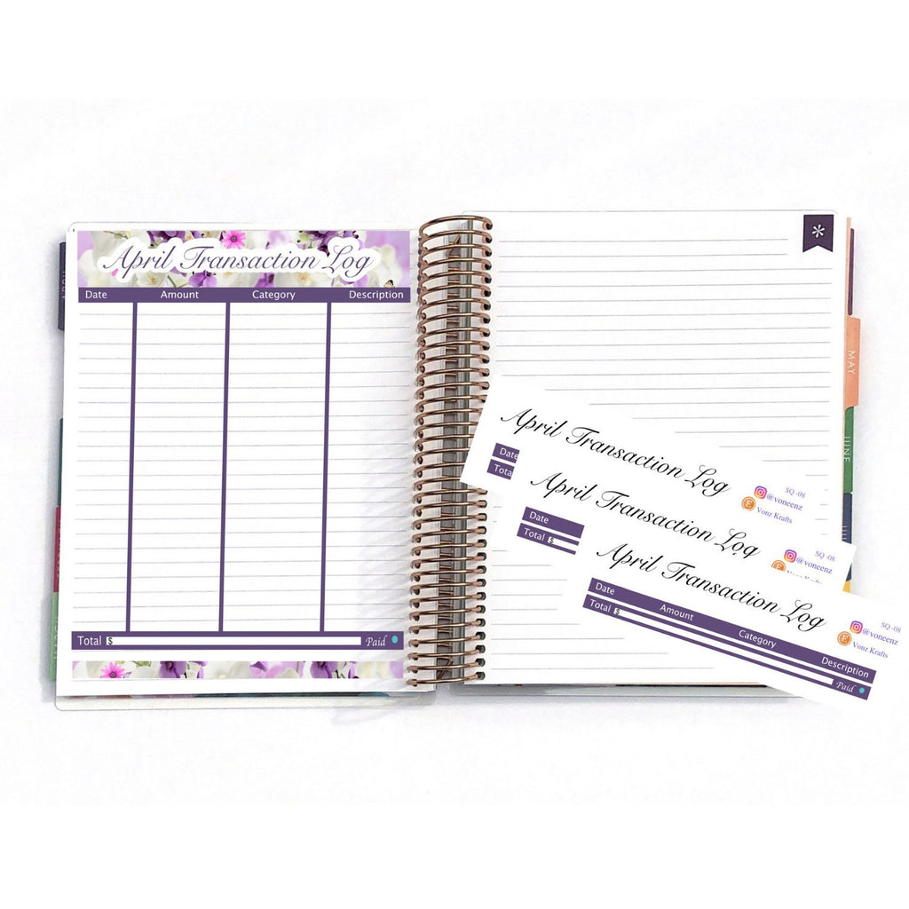"April Transaction Log, EC Stickers, Personalized Planner, Planner Stickers For Erin Condren Deluxe Monthly Planner,7x9"" & 8.5x11"":  SQ-08"