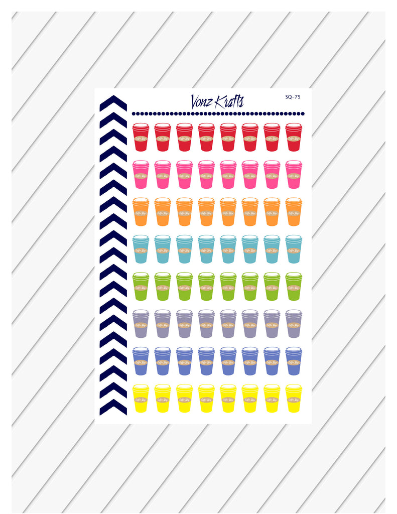 Coffee Cup Planner Stickers, Coffee Cup Stickers, Iced Coffee Stickers, Functional Planner Stickers, Perfect For Erin Condren Planner