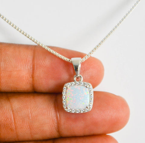 White Fire Opal Necklace, Sterling Silver Opal Necklace, Cz Bridal Necklace, October Birthstone Jewelry, Cushion Cut Opal Pendant