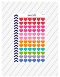 Heart Stickers, Hearts Planner Stickers, Mini Heart Stickers, Love Stickers, Functional Planner Stickers, Perfect For Erin Condren Planner