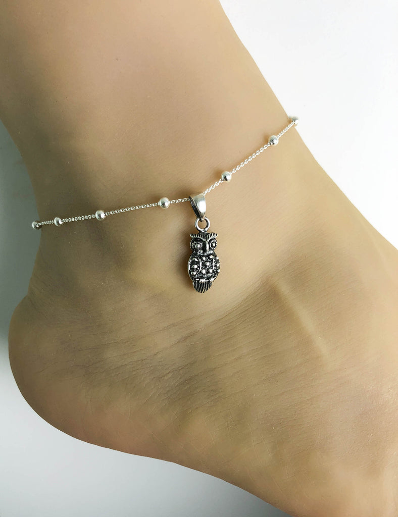 Owl Anklet, Sterling Silver Beaded Ankle Bracelet, Good Luck Charm Jewelry, Curious Owl Anklet, Owl jewelry, Anklet Chain, Women Jewelry