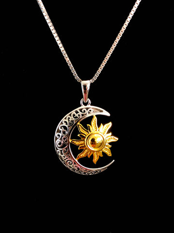 Moon and Sun Necklace, Sterling Silver Celtic Necklace, Celestial Celtic Necklace, Crescent Necklace, Moon Charm Pendant, Sun Charm Pendant